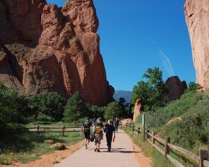 Students trekking through the garden of the gods