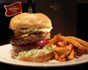 Hard Rock Burger with coleslaw and fries