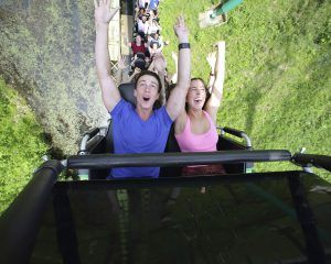 Young male and female shouting in joy with their arms up as they begin a loop on a roller coaster