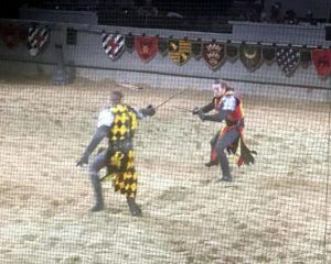 Two knights engage in a sword fight in the arena